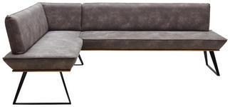 ECKBANK Lederlook Eiche massiv Grau, Schwarz, Eichefarben  - Eichefarben/Schwarz, Design, Holz/Textil (163/203cm) - Voleo