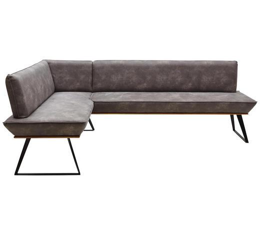 ECKBANK 163/243 cm  in Grau, Schwarz, Eichefarben  - Eichefarben/Schwarz, Design, Holz/Textil (163/243cm) - Voleo
