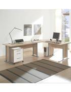 PISALNA MIZA leseni material bela, hrast sonoma - bela/hrast sonoma, Design, umetna masa/leseni material (220/170cm) - Boxxx
