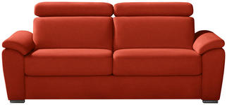 SCHLAFSOFA in Textil Rot  - Chromfarben/Rot, KONVENTIONELL, Textil/Metall (206/86-104/98cm) - Novel