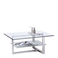 COUCHTISCH in 110/46/70 cm Alufarben, Edelstahlfarben - Edelstahlfarben/Alufarben, Design, Glas/Metall (110/46/70cm) - NOVEL