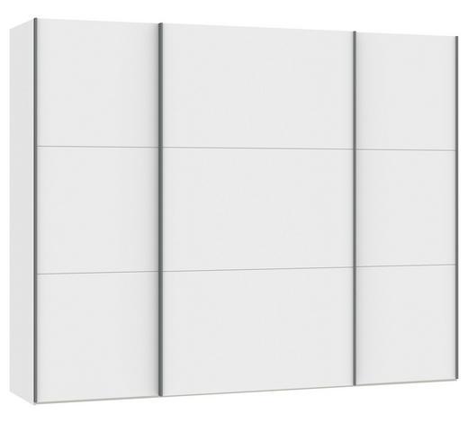 SCHWEBETÜRENSCHRANK in Weiß - Silberfarben/Weiß, Design, Glas/Holzwerkstoff (278/220/65cm) - Jutzler