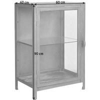 VITRÍNA, šedá - šedá, Design, kov/sklo (60/90/40cm) - Ambia Home