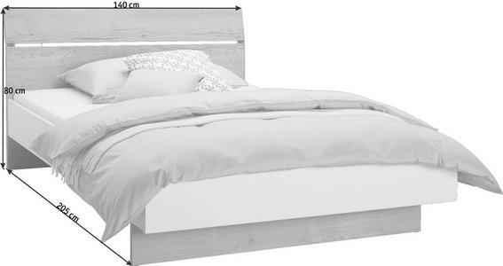 Bett 140 200 Cm In Weiss Eichefarben Online Kaufen Xxxlutz