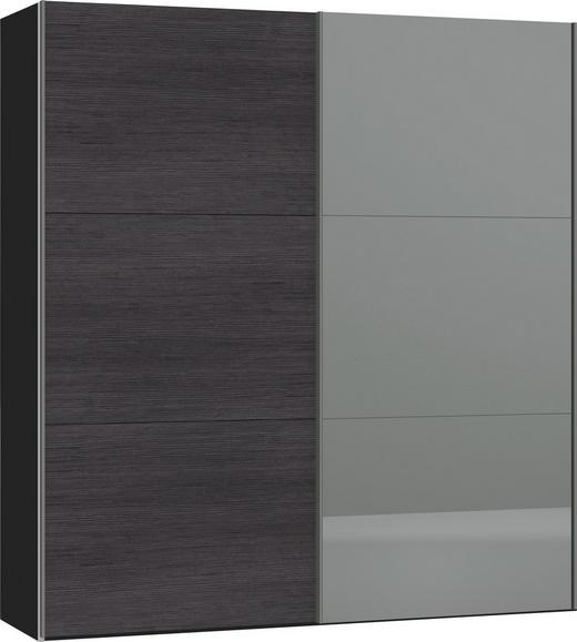 SCHWEBETÜRENSCHRANK in Anthrazit, Schwarz - Anthrazit/Silberfarben, Design, Glas/Holzwerkstoff (202,5/220/65cm) - Jutzler