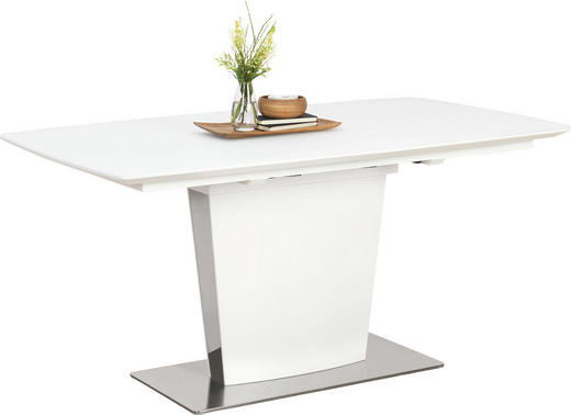 ESSTISCH rechteckig Edelstahlfarben, Weiß - Edelstahlfarben/Weiß, Design, Glas/Metall (160(210)/90/76cm) - Novel