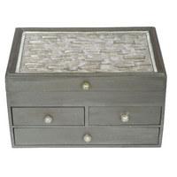 SCHMUCKBOX - Silberfarben, Glas/Holz (33/23/18cm) - Ambia Home