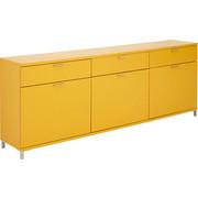 SIDEBOARD 225/82,6/39,6 cm - Edelstahlfarben/Gelb, Design, Holzwerkstoff/Metall (225/82,6/39,6cm) - Invivus