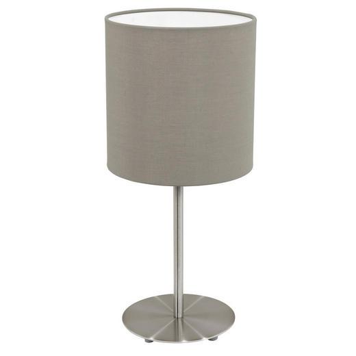 TISCHLEUCHTE - Taupe/Nickelfarben, KONVENTIONELL, Textil/Metall (18/40cm)