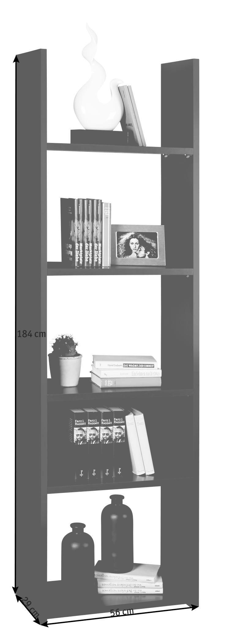 REGAL Sandfarben - Sandfarben/Grau, MODERN, Holz/Kunststoff (56/184/29cm) - CARRYHOME