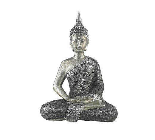 BUDDHA 22,5/29,5 cm - Silberfarben, LIFESTYLE, Kunststoff/Stein (22,5/29,5cm) - Ambia Home