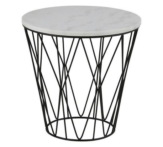 COUCHTISCH rund Weiß  - Schwarz/Weiß, Design, Stein/Metall (50/50cm) - Ambia Home