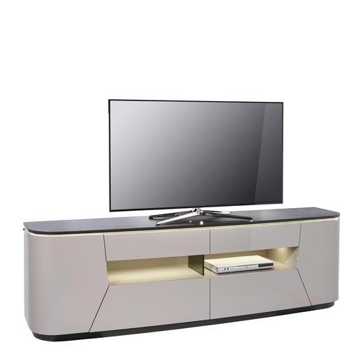 TV-ELEMENT Eiche furniert Hellbraun, Schwarz - Hellbraun/Schwarz, Design, Holz/Holzwerkstoff (220/66/52cm) - Ambiente