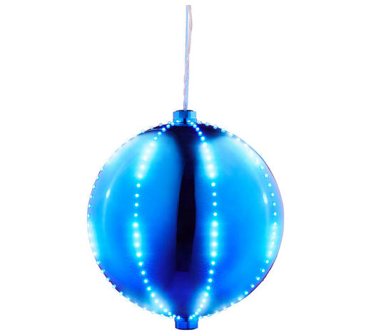 MAXI-KUGEL MIT LED-BELEUCHTUNG Blau  - Blau, Kunststoff/Metall (30cm)