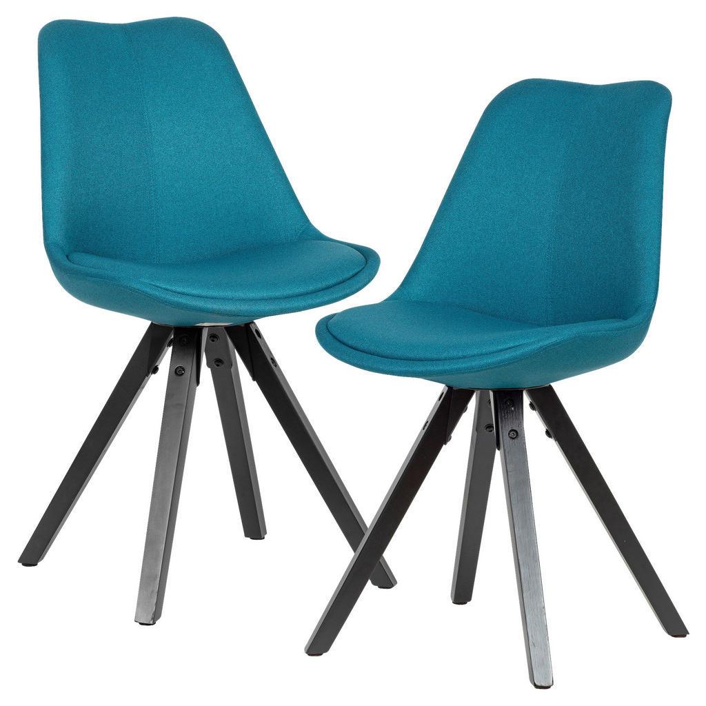 Livetastic Stuhl set webstoff petrol , Wl6.124 , Holz , Kautschukholz , massiv , 49x87x52 cm , lackiert,Webstoff,Echtholz , 000850033303