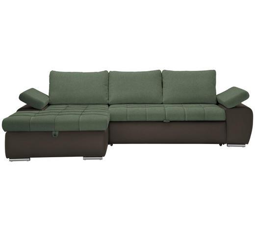 WOHNLANDSCHAFT Braun, Grün Flachgewebe  - Braun/Grün, Design, Kunststoff/Textil (175/271cm) - Xora