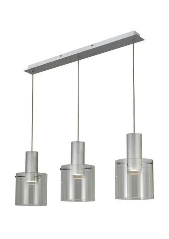 LED ZÁVĚSNÉ SVÍTIDLO - průhledné/barvy hliníku, Design, kov/sklo (90/20/120cm) - Dieter Knoll