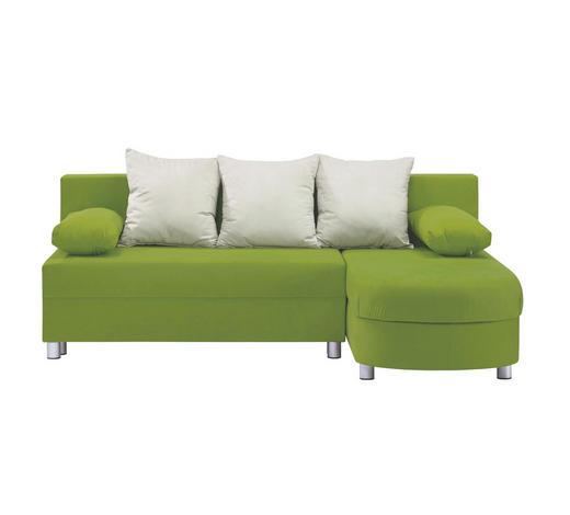 Ecksofa Grün, Beige Webstoff  - Beige/Alufarben, Design, Kunststoff/Textil (195/153cm) - Carryhome