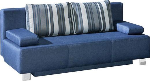 SCHLAFSOFA Webstoff Blau - Blau/Chromfarben, Design, Textil/Metall (203/88/89cm) - Novel