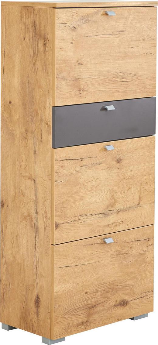 SCHUHKIPPER matt Braun, Eichefarben - Eichefarben/Silberfarben, Design, Metall (60/140/34cm) - Cassando