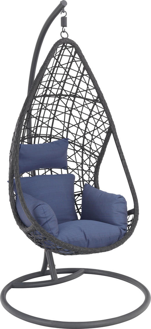 VISEČ SEDEŽ - modra/siva, Design, kovina/umetna masa (122/200/104cm) - Ambia Garden