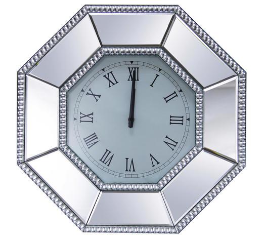 STENSKA URA - srebrna, Design, steklo/leseni material (50,5/50,5/5cm) - Xora