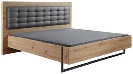 BETT in Grau, Eichefarben  - Eichefarben/Grau, Design, Holzwerkstoff/Textil (180/200cm) - Hom`in