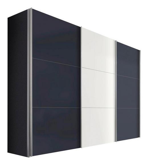SCHWEBETÜRENSCHRANK 3-türig Graphitfarben, Weiß - Graphitfarben/Alufarben, KONVENTIONELL, Holzwerkstoff/Metall (300/216/68cm) - Hom`in