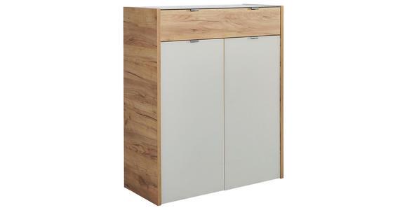 KOMMODE Eichefarben, Kaschmir  - Kaschmir/Eichefarben, KONVENTIONELL, Glas/Holzwerkstoff (91/110/40cm) - Voleo