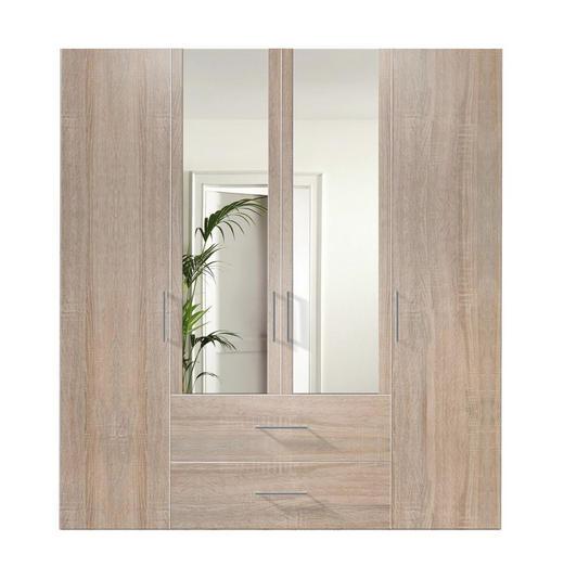 DREHTÜRENSCHRANK 4-türig Sonoma Eiche - Alufarben/Sonoma Eiche, KONVENTIONELL, Glas/Holzwerkstoff (200/216/58cm) - Hom`in
