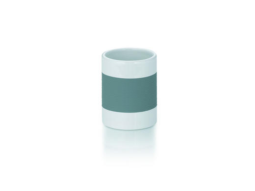 ZAHNPUTZBECHER - Weiß/Grau, Basics, Keramik/Kunststoff (7,5/10cm)
