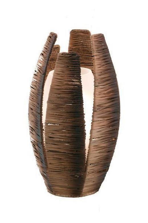 TISCHLEUCHTE - Braun, KONVENTIONELL, Textil/Metall (30cm)