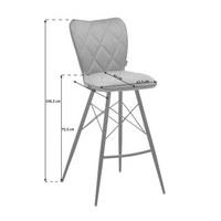 BARHOCKER in Metall, Textil Grau, Schwarz  - Schwarz/Grau, Design, Textil/Metall (43,5/106,5/53cm) - Hom`in