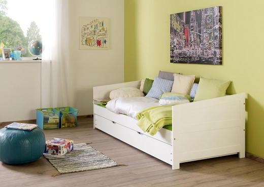 AUSZIEHBETT Buche massiv Weiß - Weiß, Design, Holz (90/200cm)