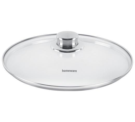 DECKEL  28 cm  - Klar/Edelstahlfarben, Basics, Glas/Metall (28cm) - Homeware Profession.