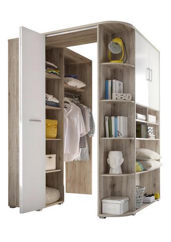 ROHOVÁ SKŘÍŇ, bílá, barvy dubu - bílá/barvy dubu, Design, kompozitní dřevo/umělá hmota (133-146/198cm) - Carryhome