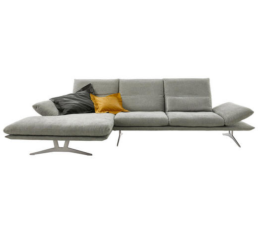WOHNLANDSCHAFT in Textil Grau - Grau, Design, Textil/Metall (159/314cm) - Koinor