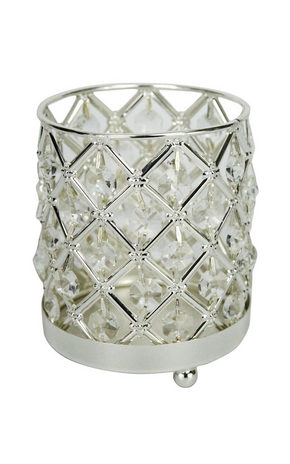 VÄRMELJUSHÅLLARE - silver, Basics, metall/glas (10/12cm) - Ambia Home