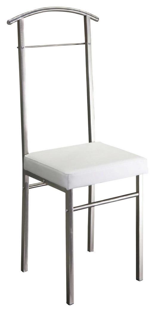 HERRENDIENER Edelstahlfarben, Weiß - Edelstahlfarben/Weiß, Design, Textil/Metall (44/104/38cm)