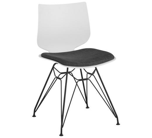 STUHL in Metall, Kunststoff, Textil Anthrazit, Schwarz, Weiß - Anthrazit/Schwarz, Design, Kunststoff/Textil (49/83/50cm) - Lomoco