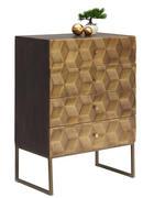 KOMMODE Mangoholz massiv lackiert, gewachst, poliert Honig, Messingfarben  - Messingfarben/Honig, Trend, Holz/Metall (70/98/42cm)
