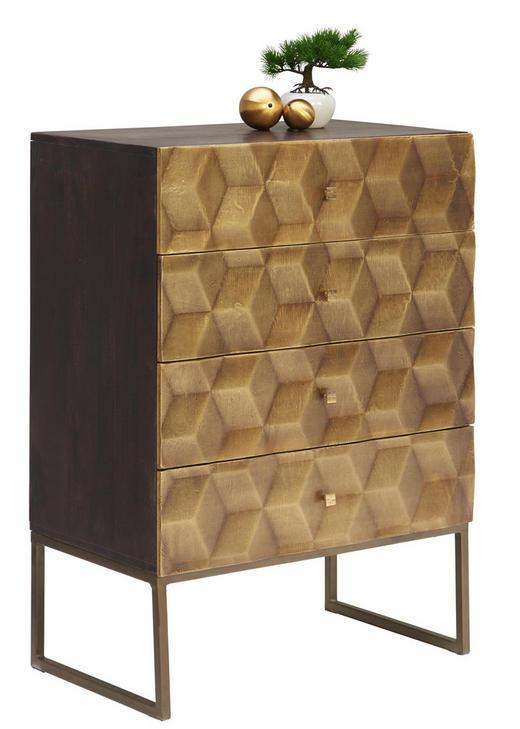 KOMMODE Mangoholz massiv Honig, Messingfarben - Messingfarben/Honig, Trend, Holz/Metall (70/98/42cm)