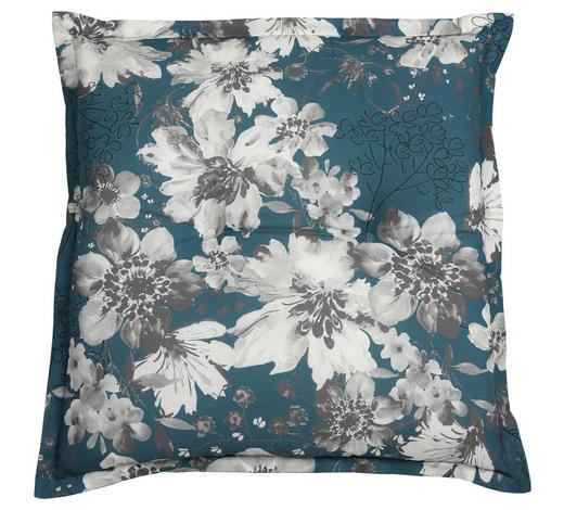 GARTENHOCKERAUFLAGE Blume - Petrol/Weiß, Basics, Textil (50/6/50cm)