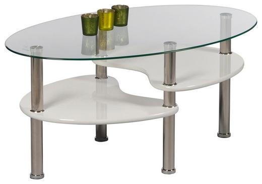 COUCHTISCH oval Weiß - Edelstahlfarben/Weiß, Design, Glas (90/40/50cm) - Carryhome