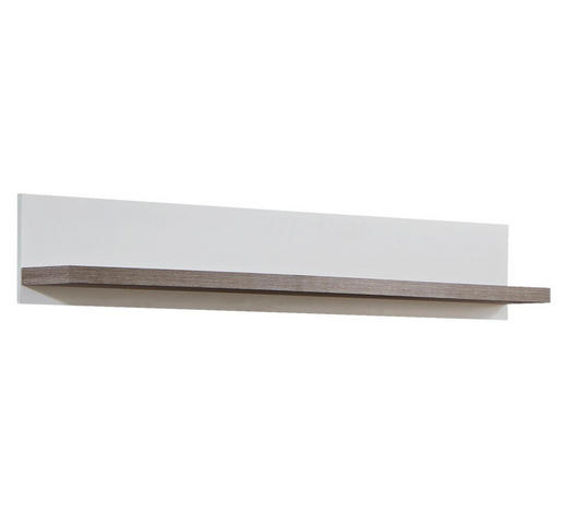 POLICE NÁSTĚNNÁ, bílá, barvy dubu - bílá/barvy dubu, Design, kompozitní dřevo (150/24/21cm) - Stylife