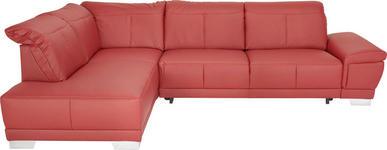 WOHNLANDSCHAFT in Rot Leder - Chromfarben/Rot, Design, Leder/Metall (209/296cm) - Xora