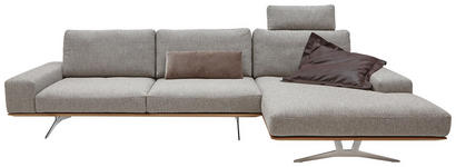 WOHNLANDSCHAFT Webstoff Sitztiefenverstellung - Hellgrau/Nickelfarben, Design, Holz/Textil (327/168cm) - Dieter Knoll