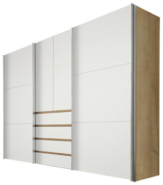 KLEIDERSCHRANK 4-türig Eichefarben, Weiß - Eichefarben/Alufarben, Design, Holzwerkstoff/Metall (300/216/68cm) - Hom`in