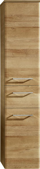SREDNJE VISOKA OMARA - hrast/krom, Konvencionalno, steklo/leseni material (30/142/33cm) - Xora