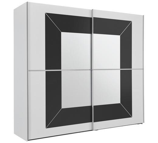 SCHWEBETÜRENSCHRANK in Grau, Weiß - Alufarben/Weiß, KONVENTIONELL, Glas/Holzwerkstoff (250/223/69cm) - Cantus